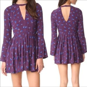 NWT Free People long sleeve purple v-neck dress